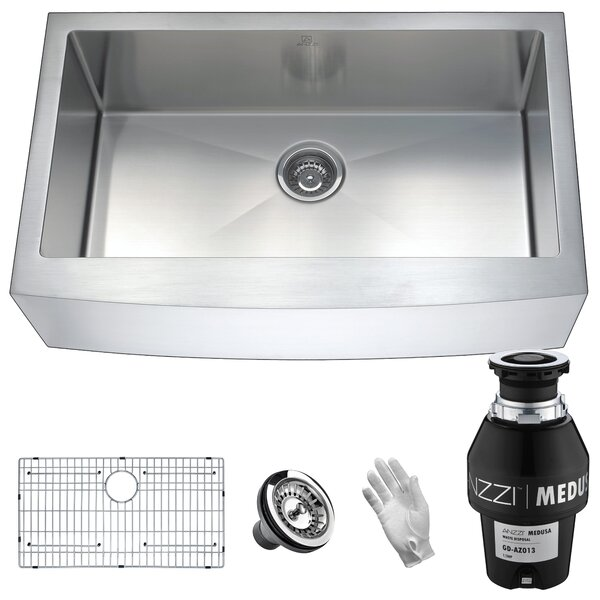 Elysian Stainless Steel 32 L x 21 W Farmhouse Kitchen Sink by ANZZI