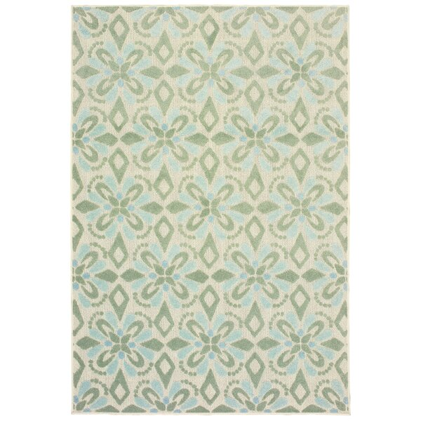 Fluellen Floral Ivory/Green Indoor/Outdoor Area Rug by Bungalow Rose