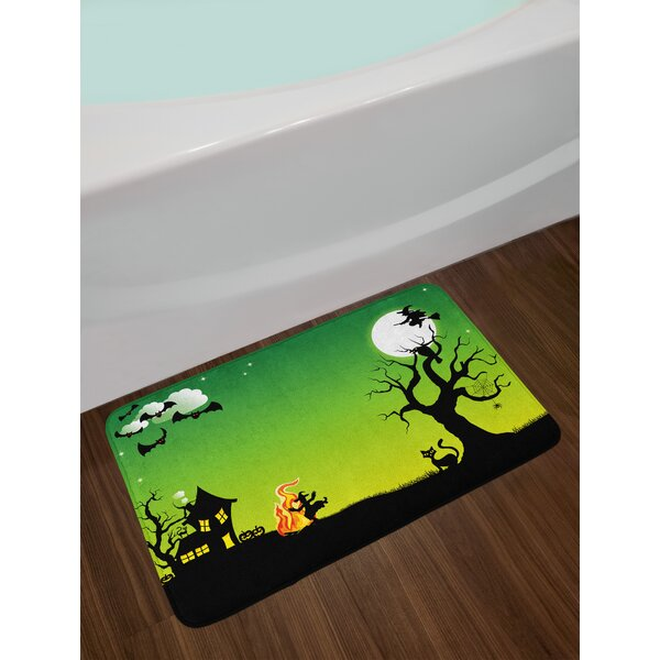 Halloween Witches Dancing with Fire and Flying Bath Rug by East Urban Home