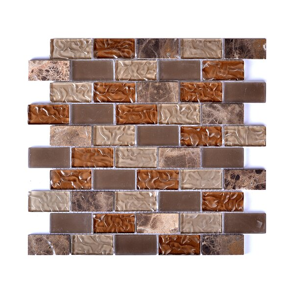 Upscale Designs Glass and Natural Stone Mosaic Tile in Taupe and Brown by Instant Mosaic