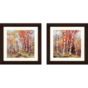 'Birch Colors 3' 2 Piece Framed Acrylic Painting Print Set by Alcott Hill