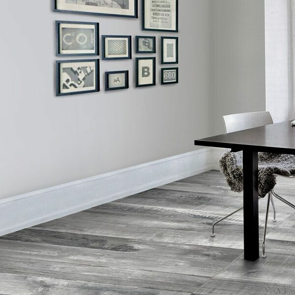 Chalet Glazed Rectified 6 x 36 Porcelain Wood Look Tile in Silver Gray by QDI Surfaces