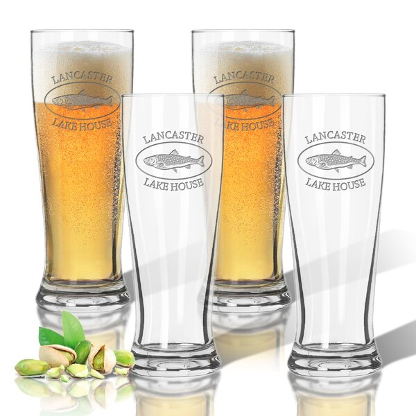 Tritan Lakehouse and Trout 14 oz. Pilsner Glass (Set of 4) by Carved Solutions