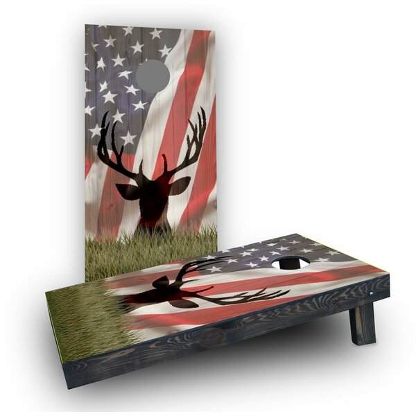 American Flag with Deer Faded Cornhole (Set of 2) by Custom Cornhole Boards