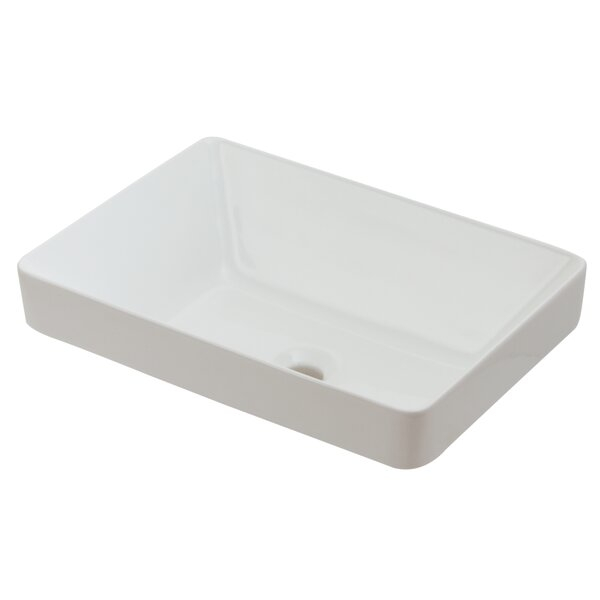 Ceramic Rectangular Vessel Bathroom Sink by Hazelwood Home