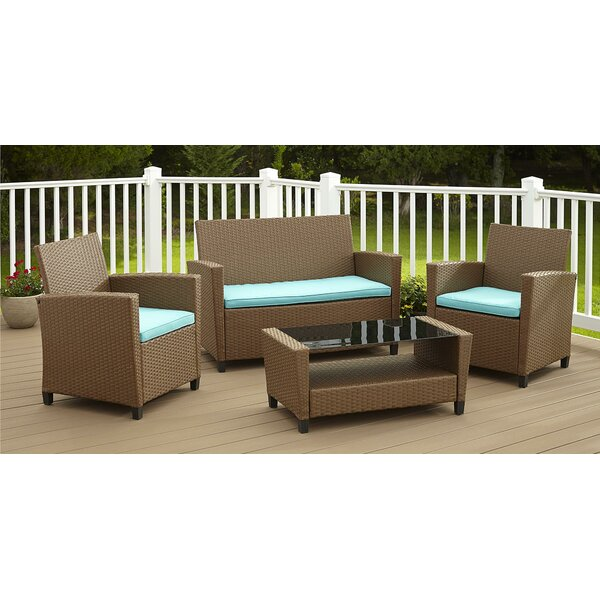 Feltonville 4 Piece Sofa Set With Cushions by Wrought Studio