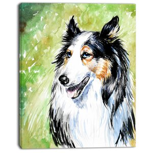 'Black Collie Dog Watercolor' Painting Print on Wrapped Canvas by Design Art