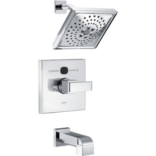 Comparison Angular Modern Tub and Shower Faucet Trim with H2okinetic Technology By Delta
