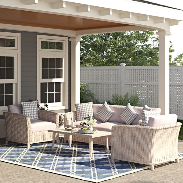 Spafford 4 Piece Rattan Sofa Seating Group with Cushions by Birch Lane™ Heritage