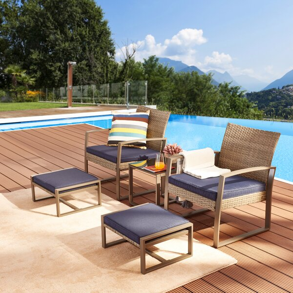 Emma 5 Piece Rattan Seating Group with Cushions by Rosecliff Heights
