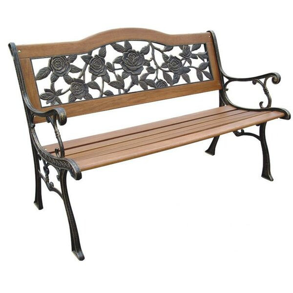 Remley Rose Resin Wood and Cast Iron Park Bench by August Grove