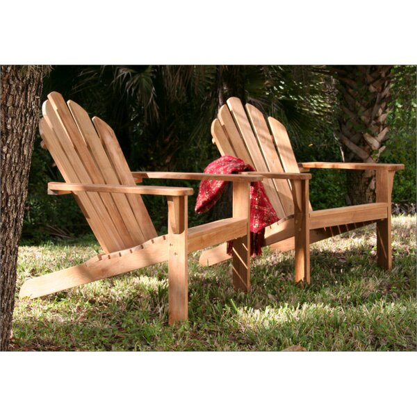 Lakeside Teak Adirondack Chair with Ottoman by Douglas Nance