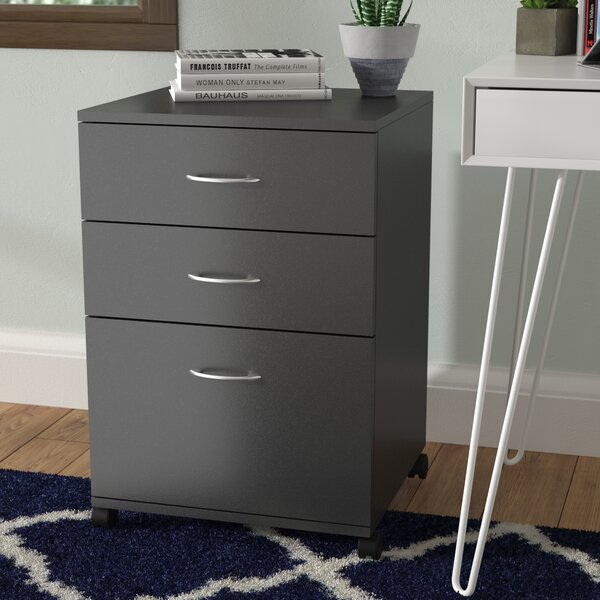 Jodi 3 Drawer Mobile Filing Cabinet by Symple Stuf