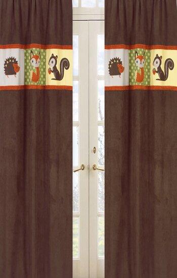 Forest Friends Wildlife Semi-Sheer Rod Pocket Curtain Panels (Set of 2) by Sweet Jojo Designs