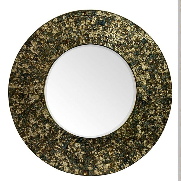 Pruneda Antique Round Mosaic Accent Mirror by Winston Porter