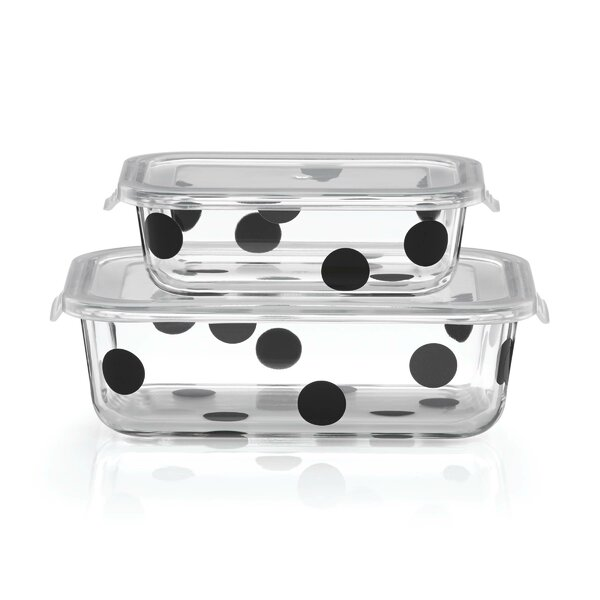 All in Good Taste Deco Dot Rectangular Food Storage Containers, Set of 2 by kate spade new york