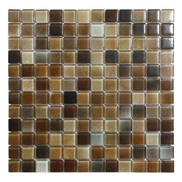 Hi-Fi 1 x 1 Glass Mosaic Tile in Textured Brown by Kellani
