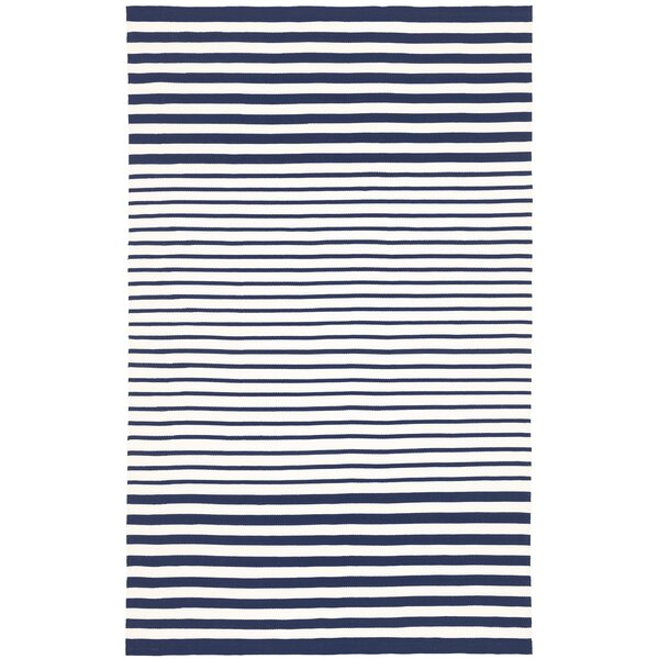 Striped Handmade Dhurrie Blue Indoor / Outdoor Area Rug