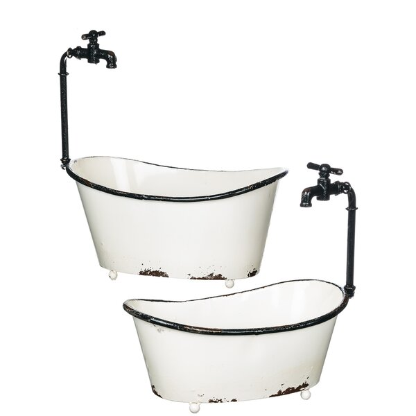Locascio Tub Metal 2 Piece Pot Planter Set with Faucet Set by Gracie Oaks