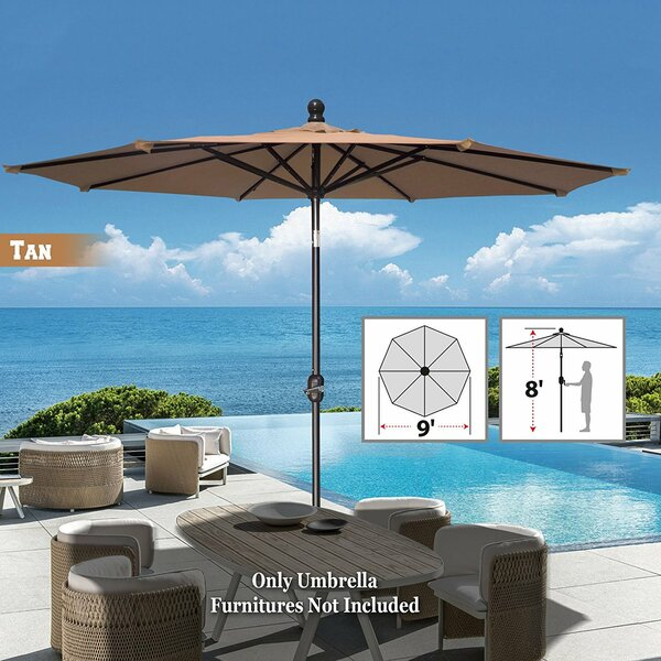 Tatum Patio Umbrella Battery Operated LED Garden Parasol Market Umbrella by Freeport Park