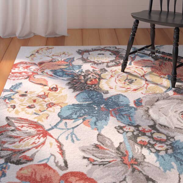 Erlich Hand-Tufted Red/Blue Are Rug by August Grove