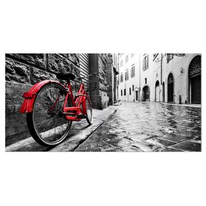 'Retro Vintage Red Bike' Photographic Print on Wrapped Canvas by Design Art