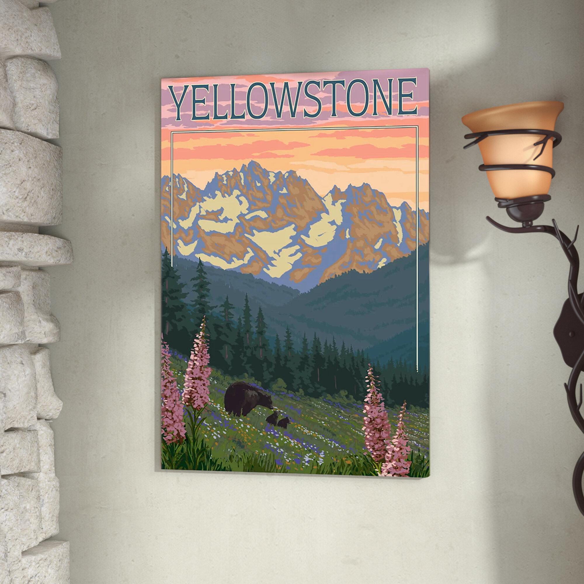 Sagebrush Foragers watercolor landscape Yellowstone Montana Wyoming NP National Park painting wall art elk sunrise sage Fine Art Print