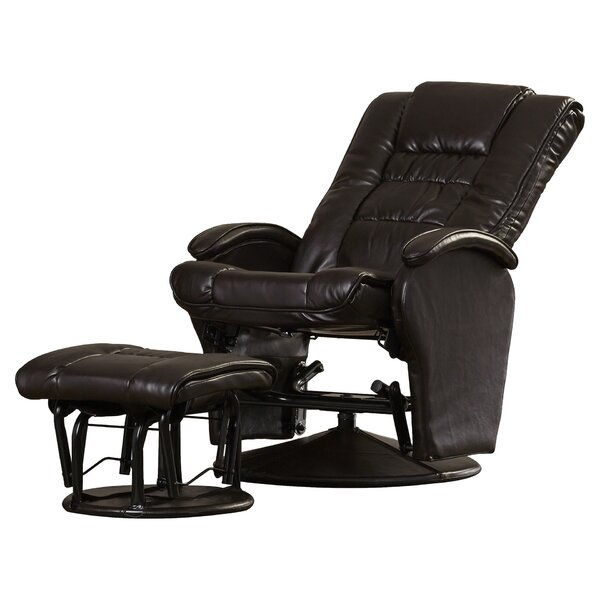 Nadine Leather Glider Recliner with Ottoman by Sym