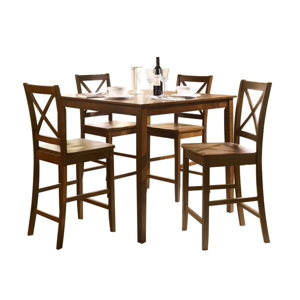 Adamantine 5 Piece Counter Height Solid Wood Dining Set By August Grove New Design