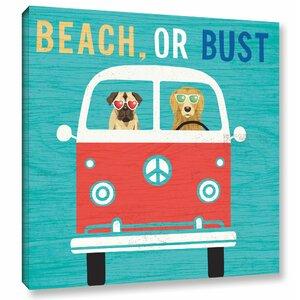 'Beach Bums Bus' Graphic Art Print on Canvas by Latitude Run
