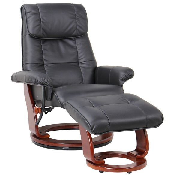 C̩lia Leather Manual Swivel Recliner With Ottoman