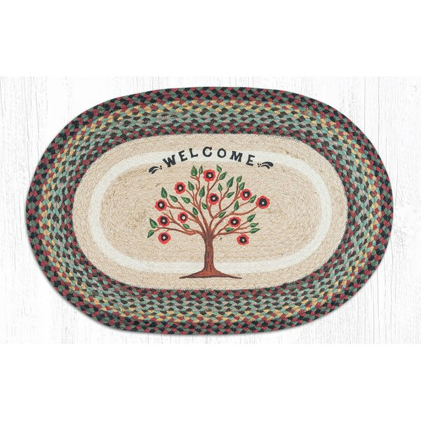 Morningside Tree of Life Oval Brown/Red Area Rug by August Grove