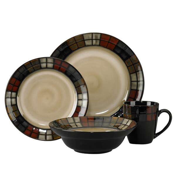 Calico 16 Piece Dinnerware Set, Service for 4 by Pfaltzgraff Everyday