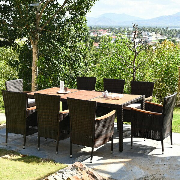 Lakely 9 Piece Dining Set with Cushions by Ebern Designs