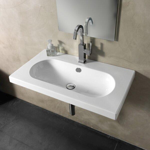 EDO Wide Ceramic 32 Wall Mount Bathroom Sink with Overflow by Ceramica Tecla by Nameeks