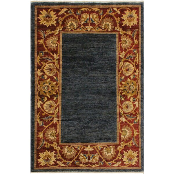 One-of-a-Kind Milo Hand-Knotted Wool Blue/Red Area Rug by Fleur De Lis Living