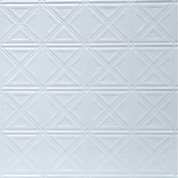 Pre Painted 23.75 x 23.75 Metal Tile in White by S