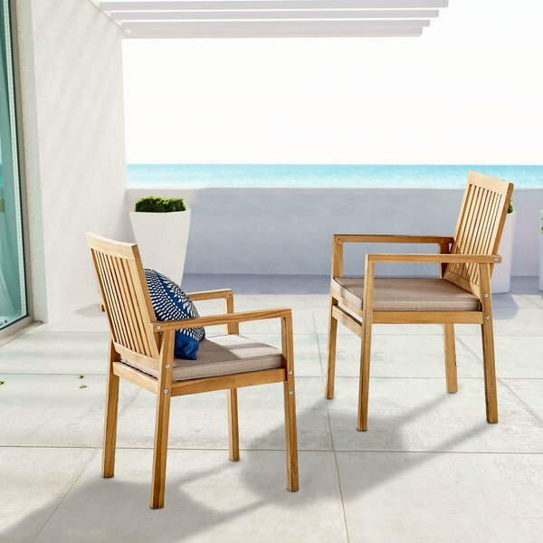 Koa Teak Patio Dining Chair with Cushion (Set of 2) by Rosecliff Heights