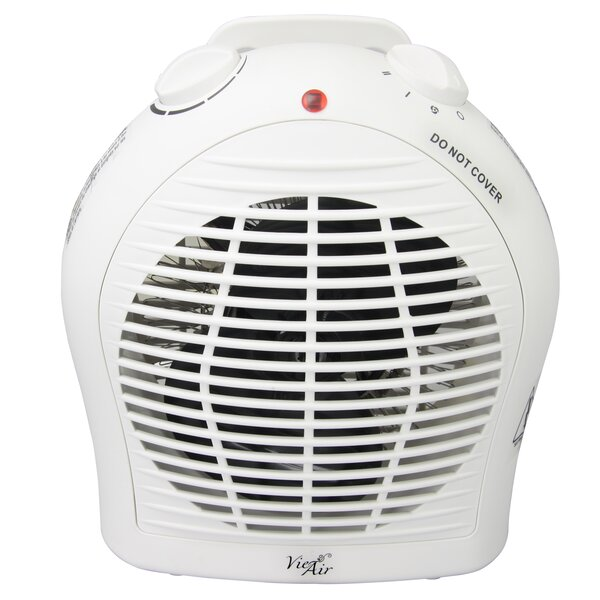 Portable 2 Settings 1,500 Watt Electric Fan Compact Heater With Adjustable Thermostat By Vie Air
