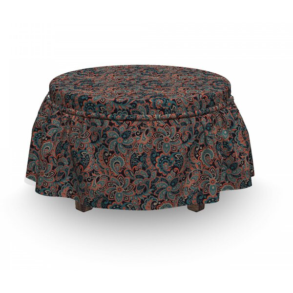 Oriental Paisley Motif Ottoman Slipcover (Set Of 2) By East Urban Home