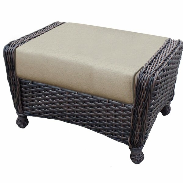 Adriel Rectangle Outdoor Ottoman with Sunbrella Cushions by Rosecliff Heights
