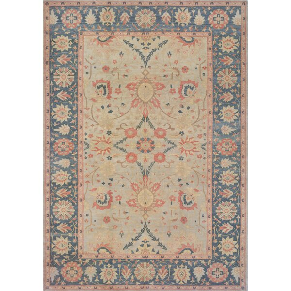 One-of-a-Kind Agra Hand-Knotted Wool Beige Indoor Area Rug by Mansour