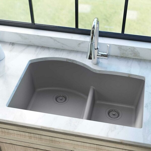 Quartz Classic 33 L x 22 W Double Basin Undermount Kitchen Sink with Aqua Divide by Elkay