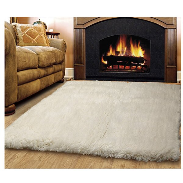 Bloomville Flokati Wool Natural Area Rug by Charlton Home