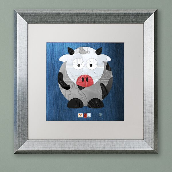 Steve Moo The Cow by Design Turnpike Square Framed Art by Zoomie Kids