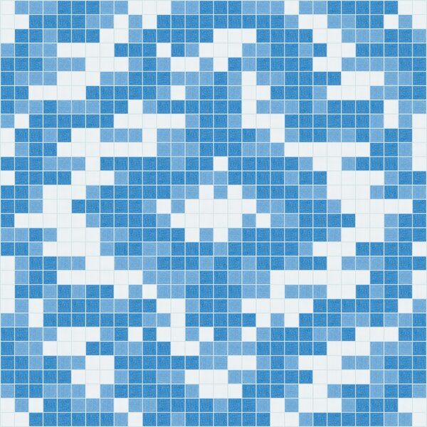 Urban Essentials Cepko Ikat 3/4 x 3/4 Glass Glossy Mosaic in Lakefront Blue by Mosaic Loft