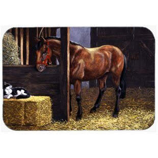 Reviews Horse In Stable with Cat Glass Cutting Board ByCaroline