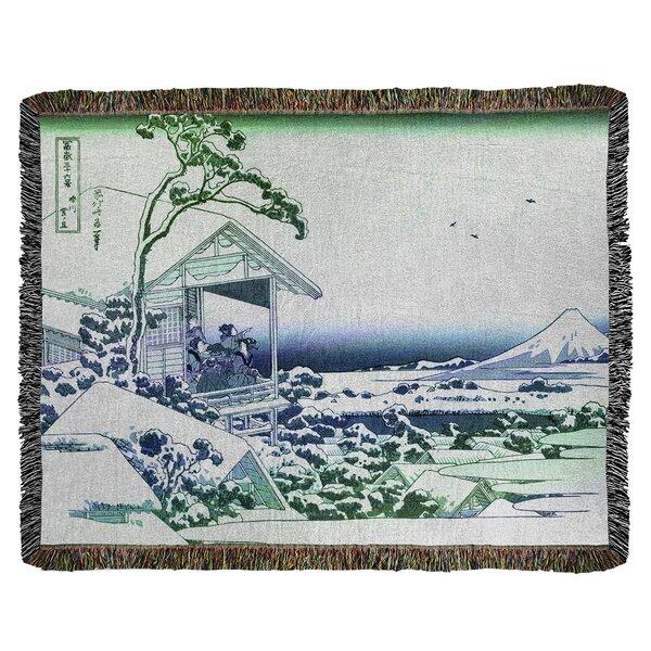 East Urban Home Katsushika Hokusai Tea House At Koishikawa Cotton Throw Wayfair