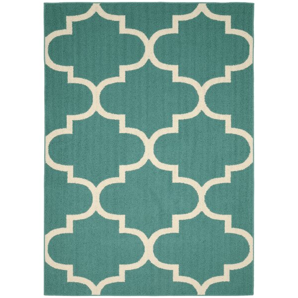 Large Quatrefoil Teal/Ivory Area Rug by Garland Rug