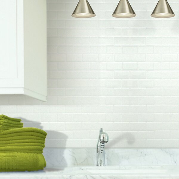 10.95 x 9.7 Peel & Stick Subway Tile in White by S